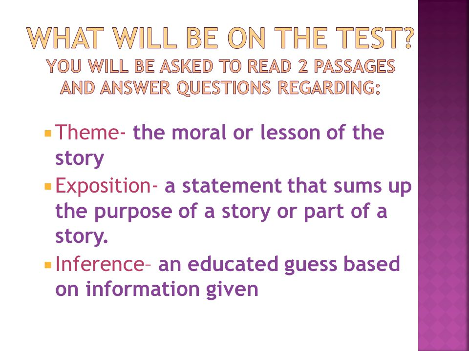 Theme- the moral or lesson of the story  Exposition- a statement that sums up the purpose of a story or part of a story.  Inference– an educated g