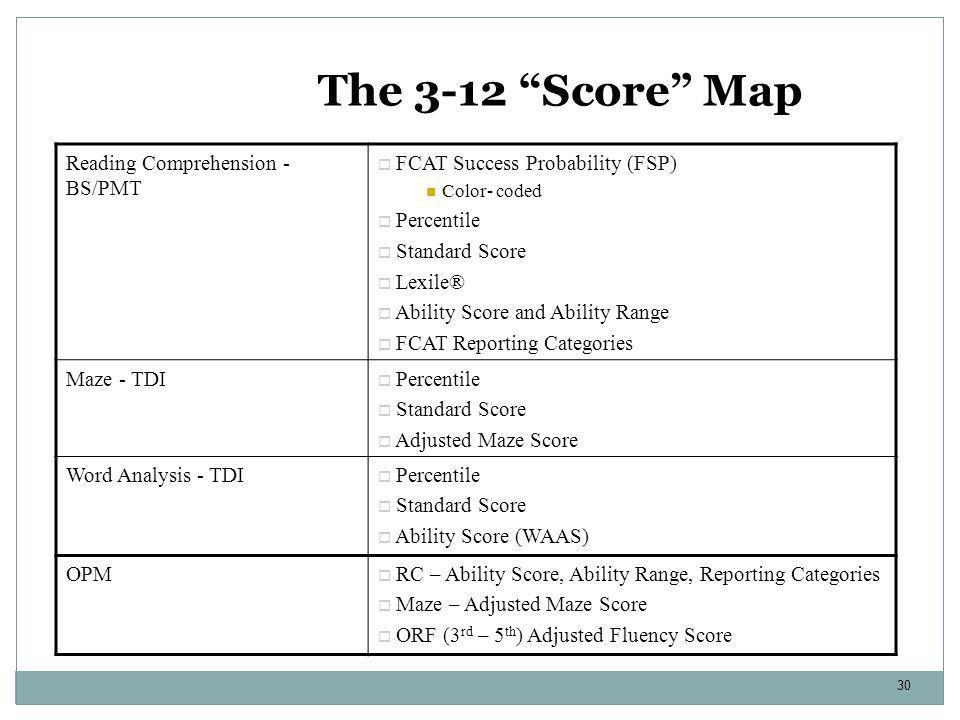 "30 The 3-12 ""Score"" Map Reading Comprehension - BS/PMT  FCAT Success Probability (FSP) Color- coded  Percentile  Standard Score  Lexile®  Ability"