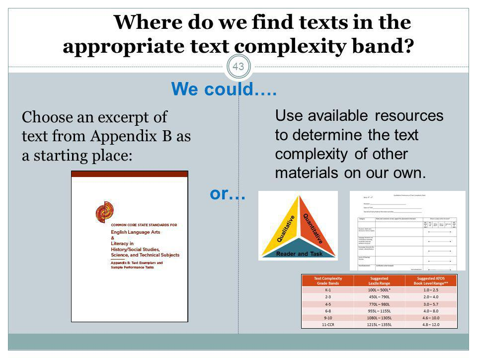 Where do we find texts in the appropriate text complexity band? Choose an excerpt of text from Appendix B as a starting place: We could…. or… Use avai