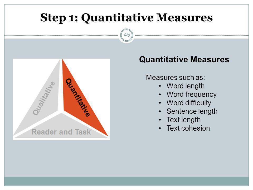 Step 1: Quantitative Measures Measures such as: Word length Word frequency Word difficulty Sentence length Text length Text cohesion Quantitative Meas