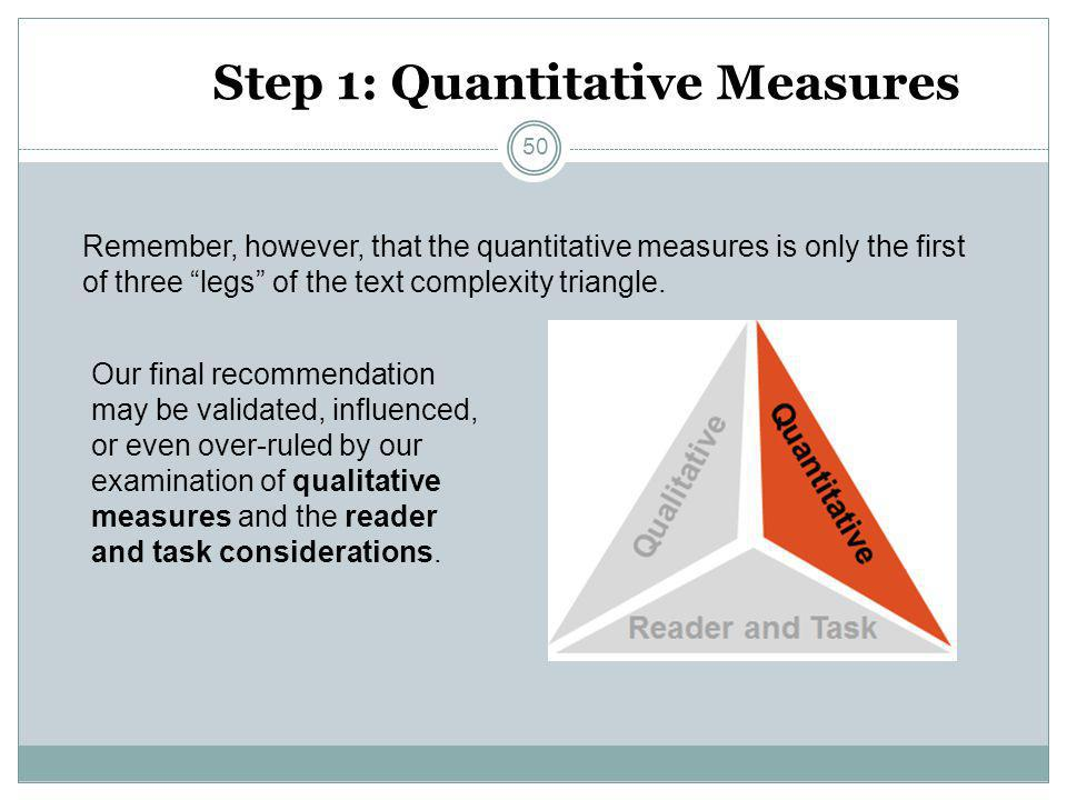 """Step 1: Quantitative Measures Remember, however, that the quantitative measures is only the first of three """"legs"""" of the text complexity triangle. Our"""