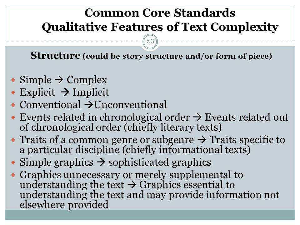 Common Core Standards Qualitative Features of Text Complexity Structure (could be story structure and/or form of piece) Simple  Complex Explicit  Im