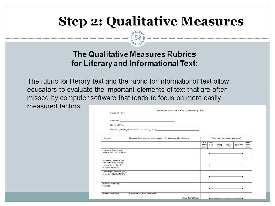 Step 2: Qualitative Measures The Qualitative Measures Rubrics for Literary and Informational Text : The rubric for literary text and the rubric for in