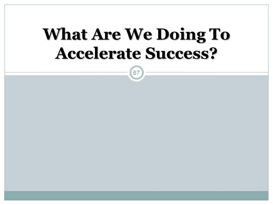 What Are We Doing To Accelerate Success? 67
