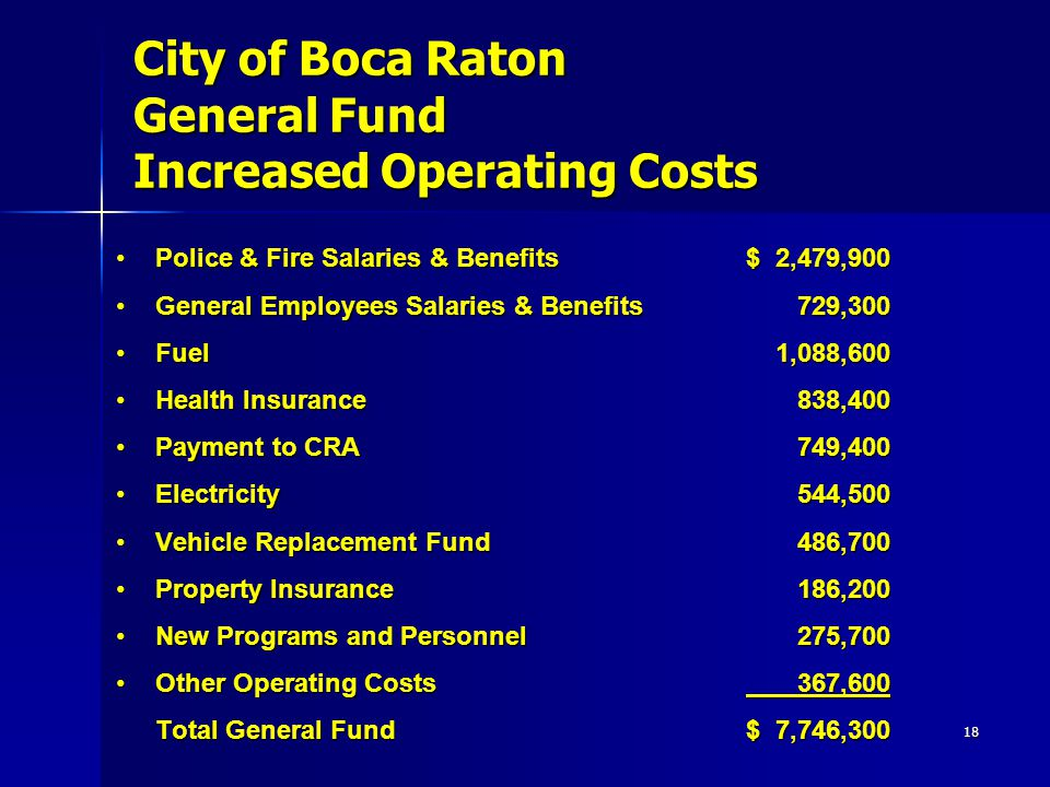 18 City of Boca Raton General Fund Increased Operating Costs Police & Fire Salaries & Benefits$ 2,479,900Police & Fire Salaries & Benefits$ 2,479,900 General Employees Salaries & Benefits 729,300General Employees Salaries & Benefits 729,300 Fuel 1,088,600Fuel 1,088,600 Health Insurance 838,400Health Insurance 838,400 Payment to CRA 749,400Payment to CRA 749,400 Electricity 544,500Electricity 544,500 Vehicle Replacement Fund 486,700Vehicle Replacement Fund 486,700 Property Insurance 186,200Property Insurance 186,200 New Programs and Personnel 275,700New Programs and Personnel 275,700 Other Operating Costs 367,600Other Operating Costs 367,600 Total General Fund $ 7,746,300