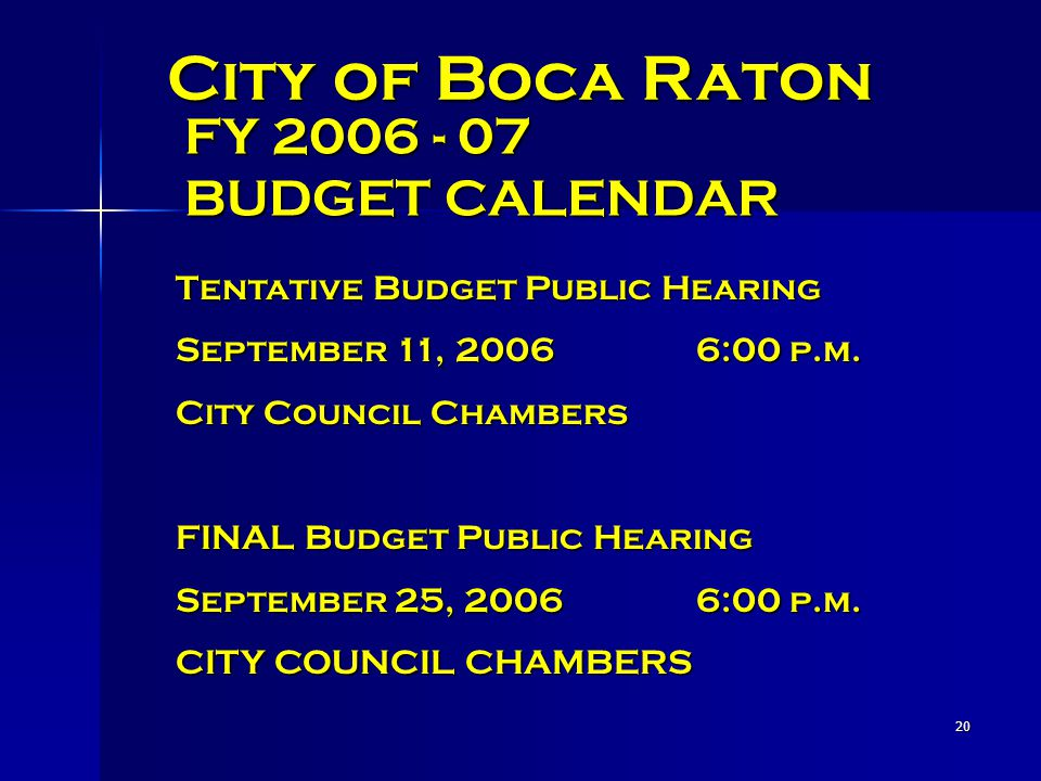 20 City of Boca Raton FY 2006 - 07 BUDGET CALENDAR Tentative Budget Public Hearing September 11, 20066:00 p.m.