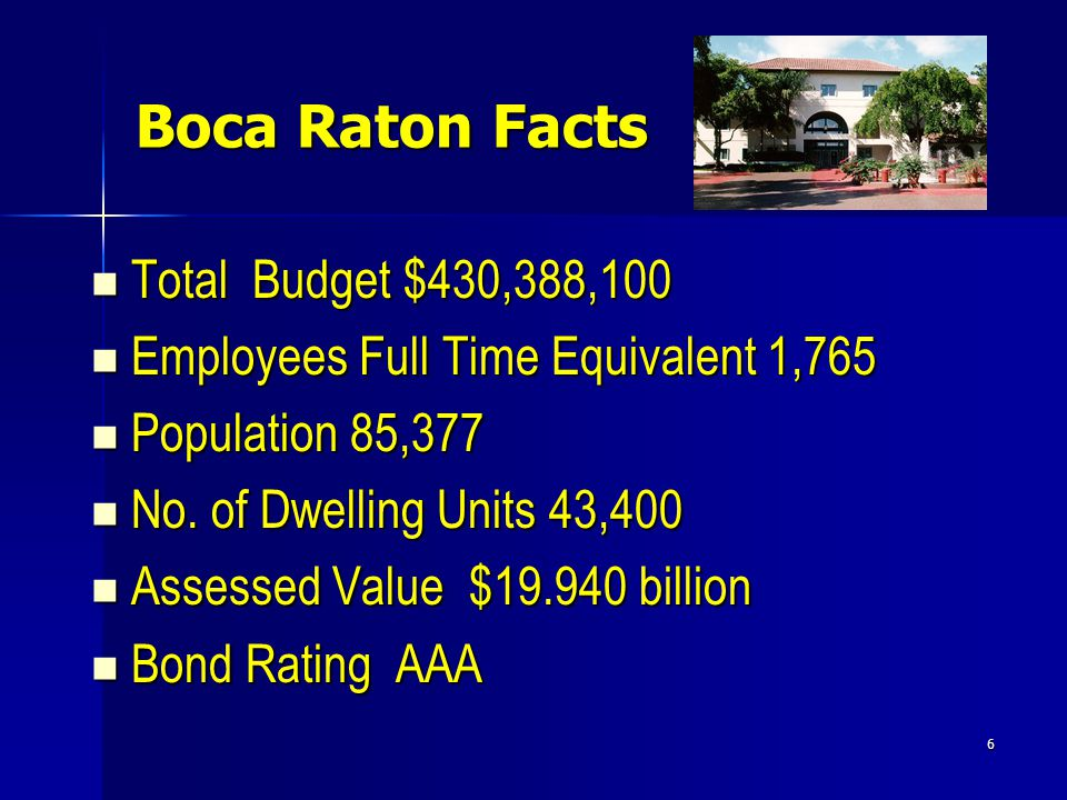 6 Boca Raton Facts Total Budget $430,388,100 Total Budget $430,388,100 Employees Full Time Equivalent 1,765 Employees Full Time Equivalent 1,765 Population 85,377 Population 85,377 No.