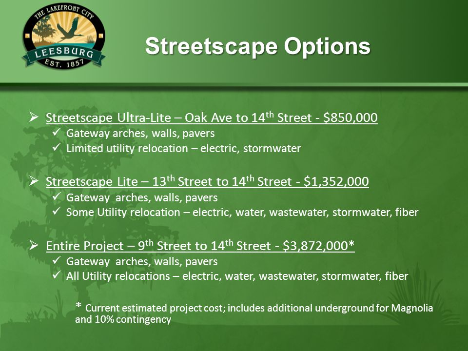 Streetscape Options Streetscape Options  Streetscape Ultra-Lite – Oak Ave to 14 th Street - $850,000 Gateway arches, walls, pavers Limited utility re