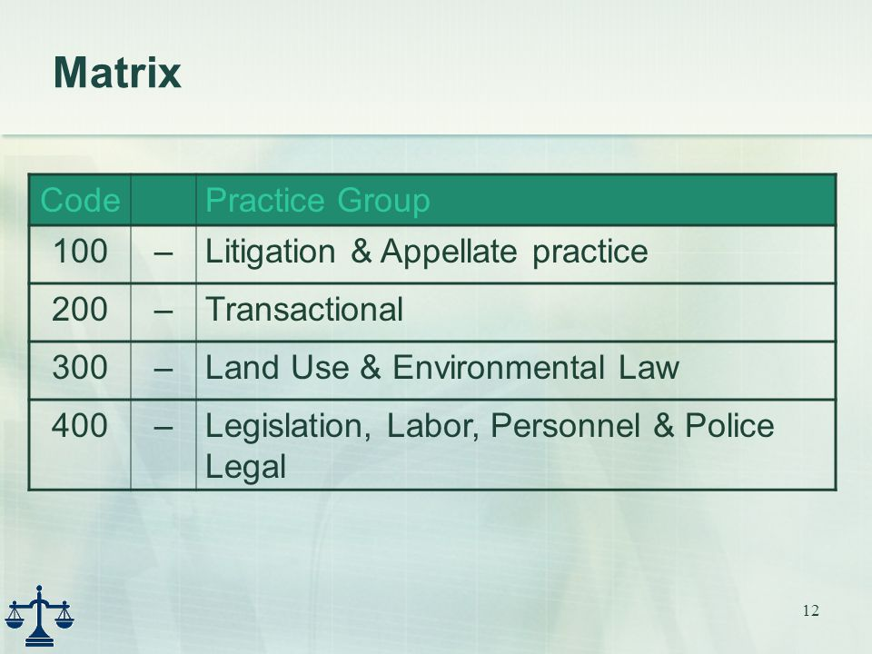 12 Matrix CodePractice Group 100–Litigation & Appellate practice 200–Transactional 300–Land Use & Environmental Law 400–Legislation, Labor, Personnel & Police Legal