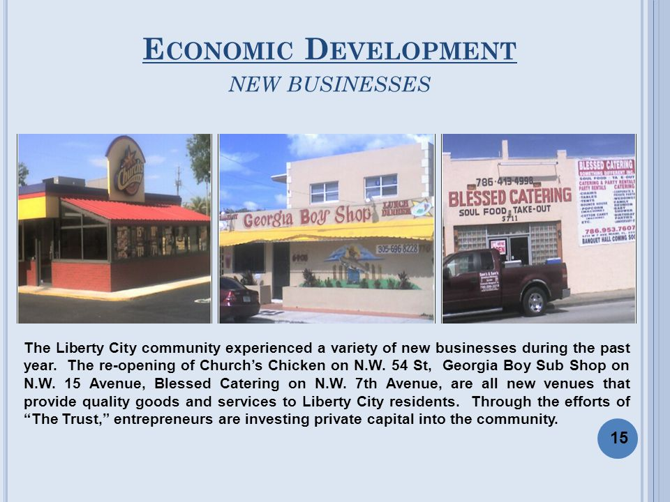 E CONOMIC D EVELOPMENT NEW BUSINESSES The Liberty City community experienced a variety of new businesses during the past year. The re-opening of Churc