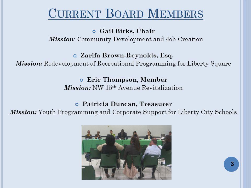C URRENT B OARD M EMBERS Gail Birks, Chair Mission : Community Development and Job Creation Zarifa Brown-Reynolds, Esq. Mission: Redevelopment of Recr