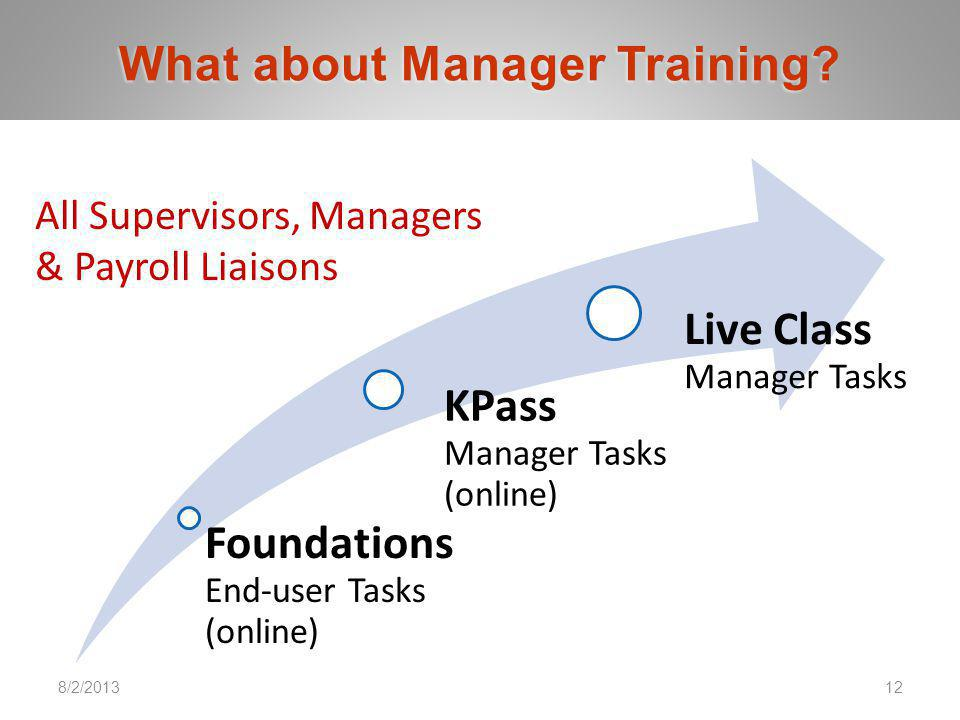 7/24/201312 PKING Consulting, Inc. | PACERS CM&T, LLC. 8/2/2013 Foundations End-user Tasks (online) KPass Manager Tasks (online) Live Class Manager Ta
