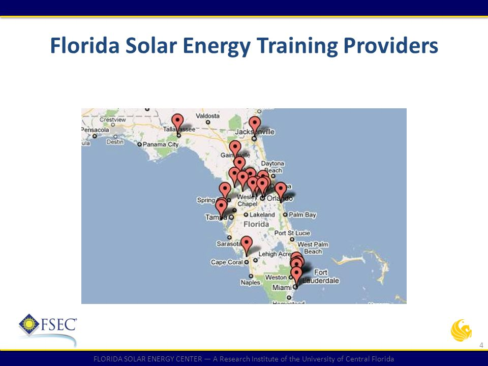 FLORIDA SOLAR ENERGY CENTER — A Research Institute of the University of Central Florida Florida's Solar Energy Potential Florida, the sunshine state, ranks third in the nation for solar potential Florida's solar policies lag behind many other states in the nation: it has no renewable portfolio standard and does not allow power purchase agreements, two policies that have driven investments in solar in other states.
