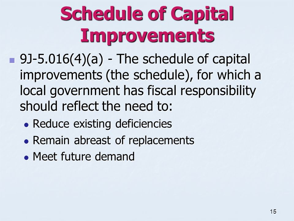 15 Schedule of Capital Improvements 9J-5.016(4)(a) - The schedule of capital improvements (the schedule), for which a local government has fiscal responsibility should reflect the need to: 9J-5.016(4)(a) - The schedule of capital improvements (the schedule), for which a local government has fiscal responsibility should reflect the need to: Reduce existing deficiencies Reduce existing deficiencies Remain abreast of replacements Remain abreast of replacements Meet future demand Meet future demand