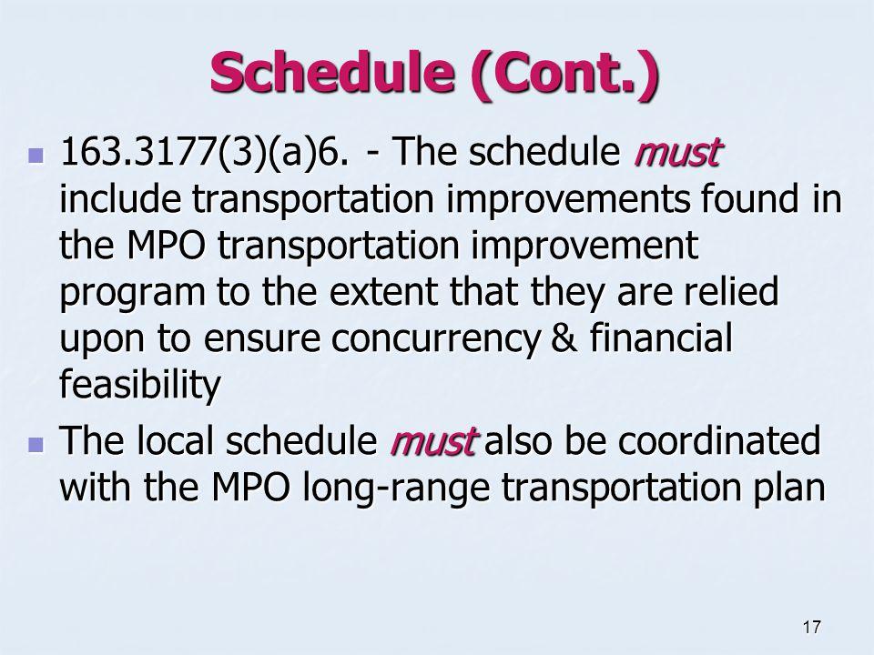 17 Schedule (Cont.) 163.3177(3)(a)6.