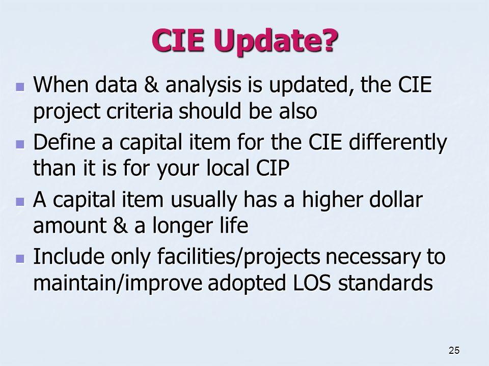25 CIE Update.