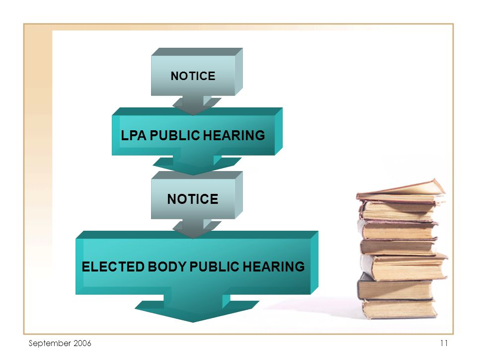 September 200611 ELECTED BODY PUBLIC HEARING NOTICE LPA PUBLIC HEARING NOTICE