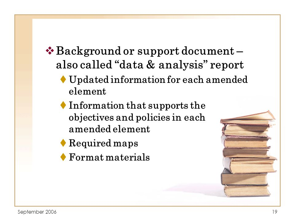 September 200619  Background or support document – also called data & analysis report  Updated information for each amended element  Information that supports the objectives and policies in each amended element  Required maps  Format materials