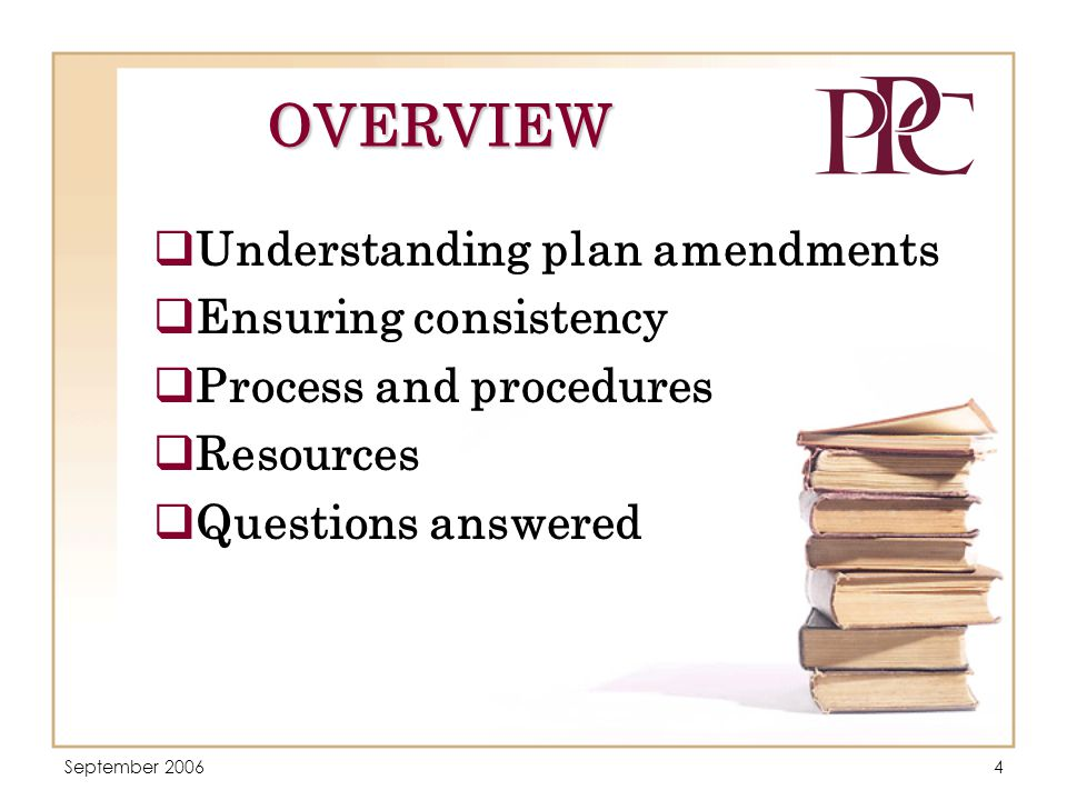 September 20065 UNDERSTANDING PLAN AMENDMENTS  Purposes of plan amendments  Contents of a plan amendment  Supporting the plan amendment with data and analysis  Old laws, new laws, and your responsibility  Who will prepare the amendment?