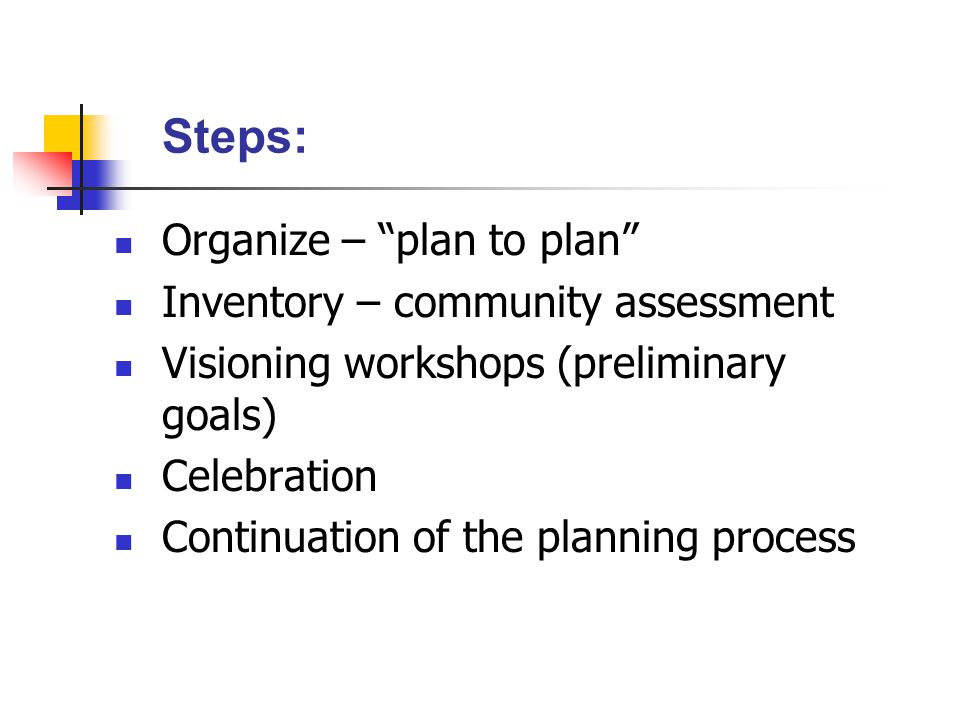 Steps: Organize – plan to plan Inventory – community assessment Visioning workshops (preliminary goals) Celebration Continuation of the planning process