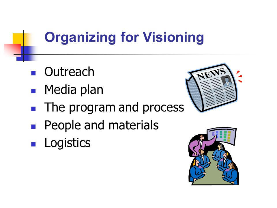 Outreach Media plan The program and process People and materials Logistics Organizing for Visioning