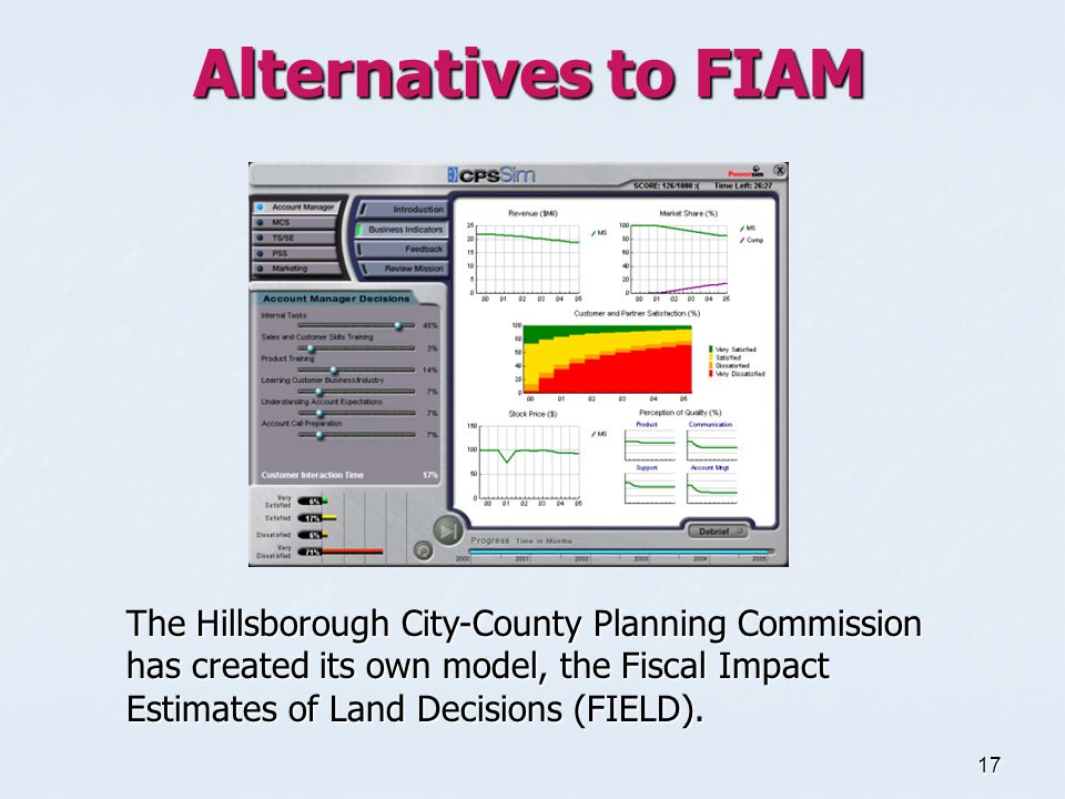 17 Alternatives to FIAM The Hillsborough City-County Planning Commission has created its own model, the Fiscal Impact Estimates of Land Decisions (FIELD).