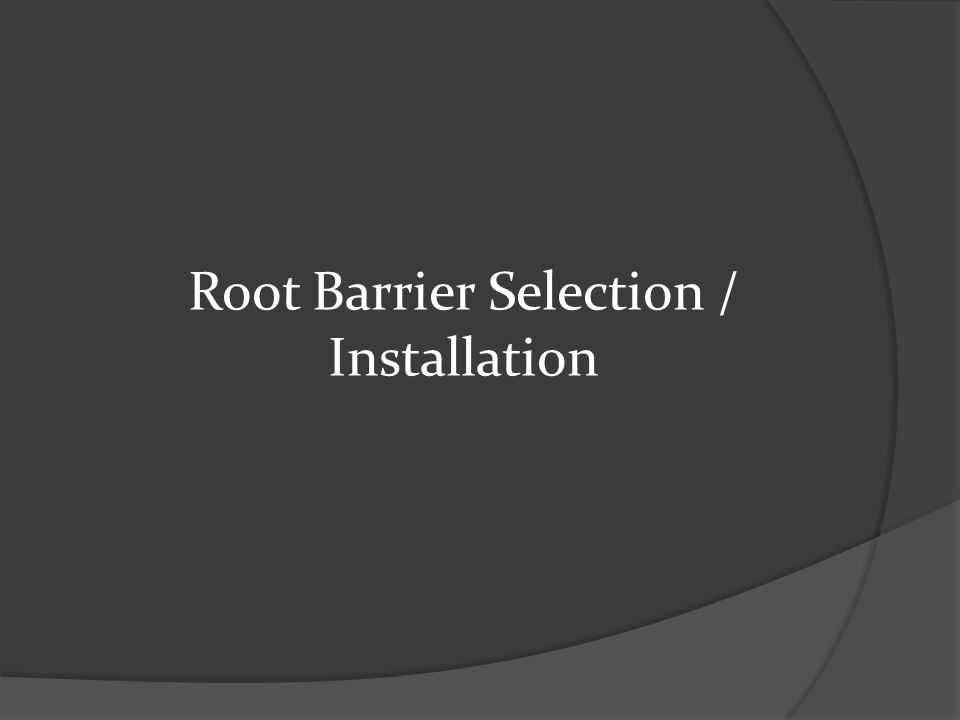 Root Barrier Selection / Installation