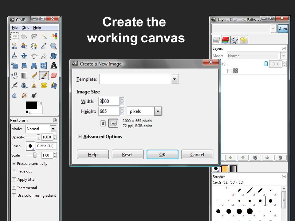 Create the working canvas