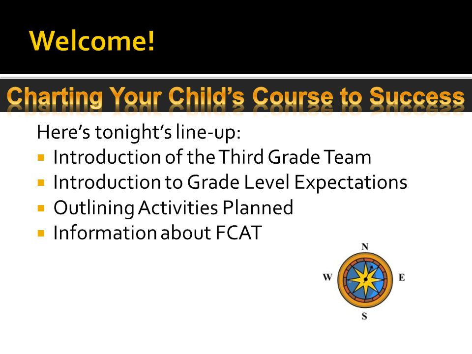 Here's tonight's line-up:  Introduction of the Third Grade Team  Introduction to Grade Level Expectations  Outlining Activities Planned  Information about FCAT