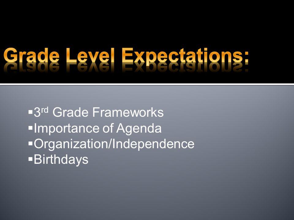  3 rd Grade Frameworks  Importance of Agenda  Organization/Independence  Birthdays