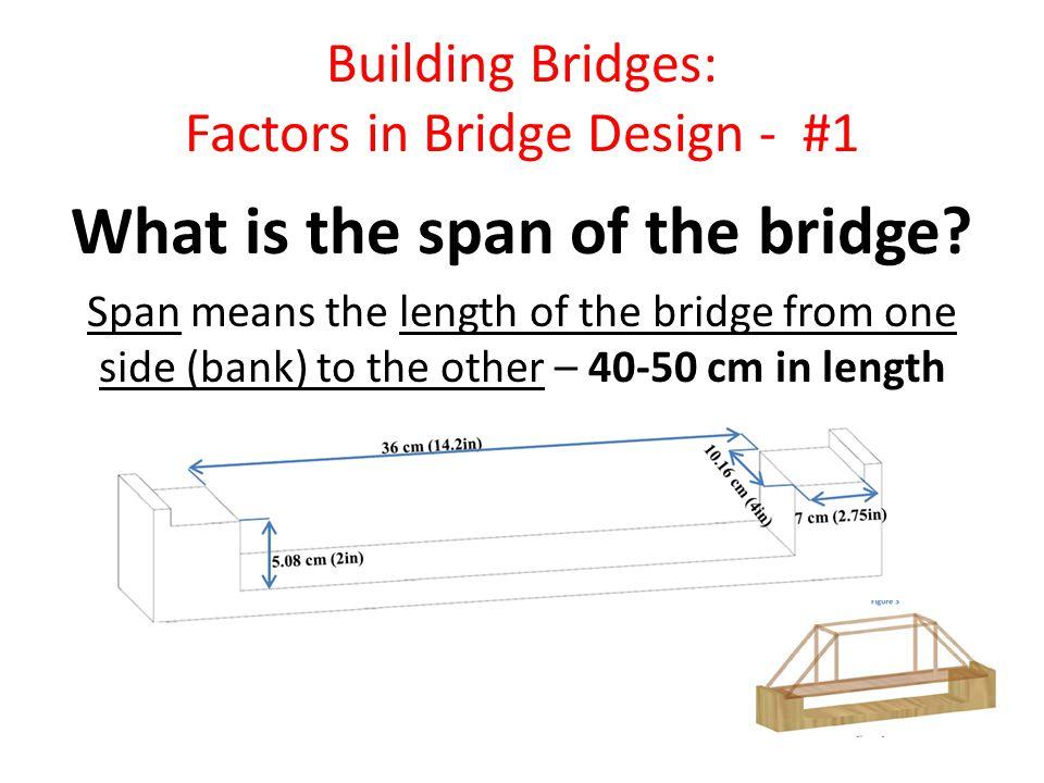 Building Bridges: Factors in Bridge Design - #2 What are the requirements.