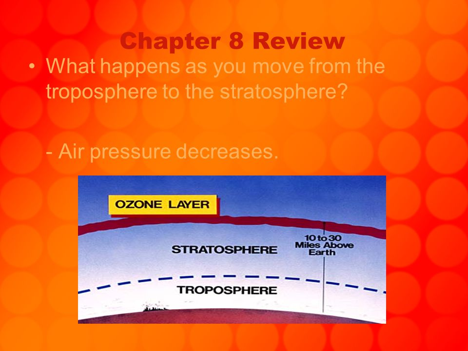 Chapter 8 Review What happens as you move from the troposphere to the stratosphere? - Air pressure decreases.