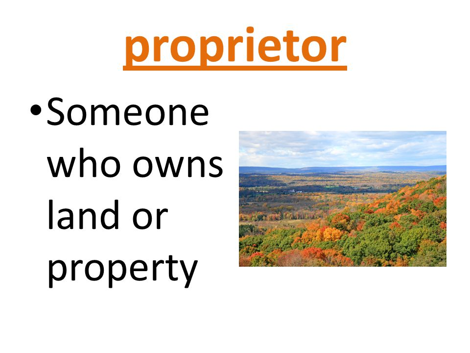 proprietor Someone who owns land or property