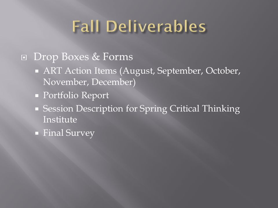  Drop Boxes & Forms  ART Action Items (August, September, October, November, December)  Portfolio Report  Session Description for Spring Critical Thinking Institute  Final Survey