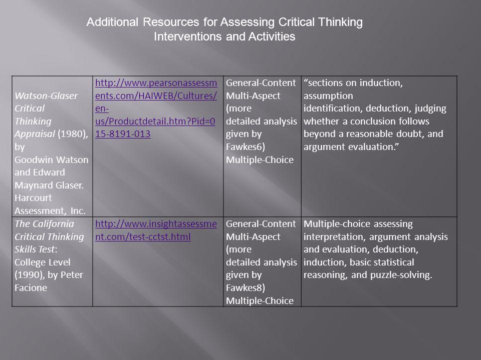 Watson-Glaser Critical Thinking Appraisal (1980), by Goodwin Watson and Edward Maynard Glaser.