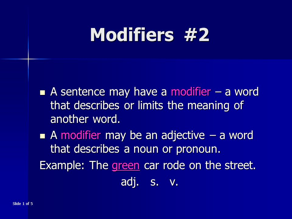 A modifier may be an adverb – a word that usually describes a verb, an adjective, or another adverb.