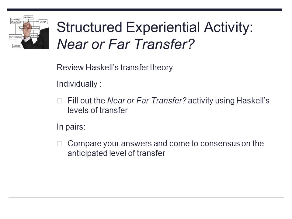 Structured Experiential Activity: Near or Far Transfer.