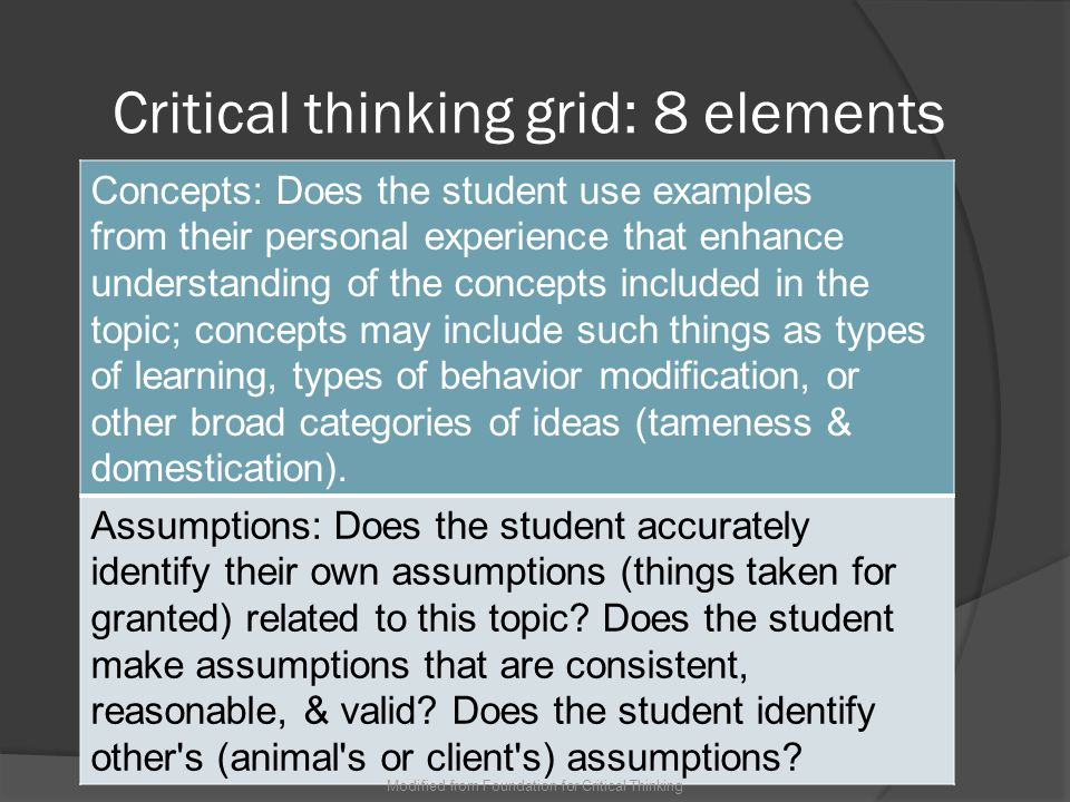 Critical thinking grid: 8 elements Inferences: Does the student make cause and effect statements.