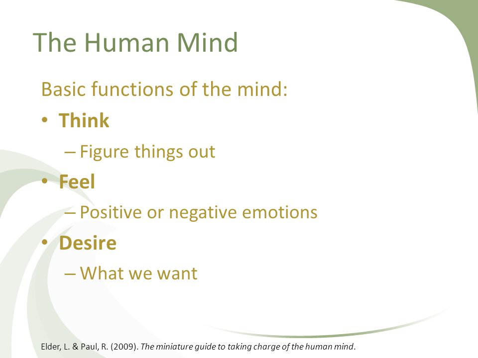 The Human Mind Basic functions of the mind: Think – Figure things out Feel – Positive or negative emotions Desire – What we want Elder, L. & Paul, R.