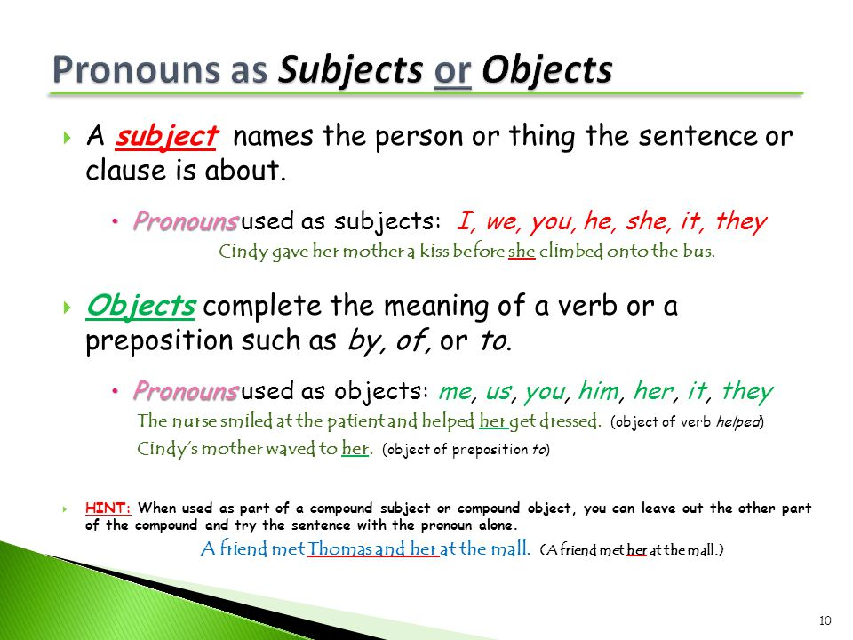  A subject names the person or thing the sentence or clause is about.  Pronouns  Pronouns used as subjects: I, we, you, he, she, it, they Cindy gav