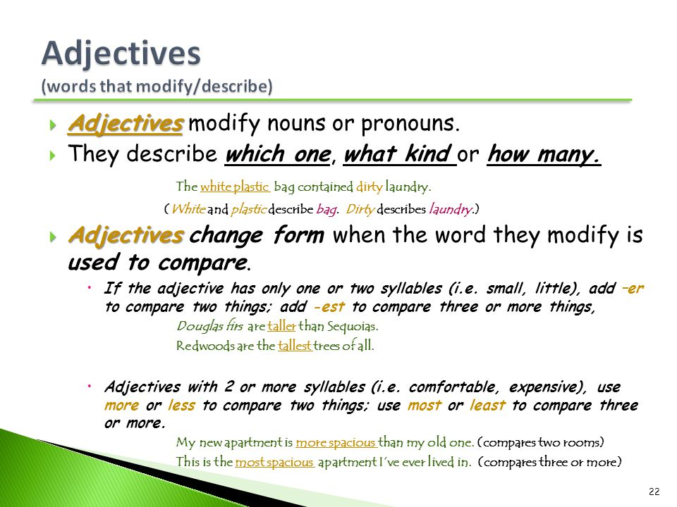  Adjectives  Adjectives modify nouns or pronouns.  They describe which one, what kind or how many. The white plastic bag contained dirty laundry. (