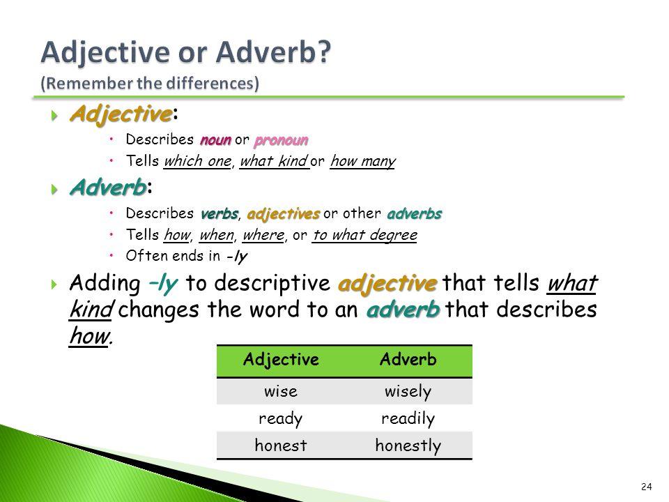  Adjective  Adjective: nounpronoun  Describes noun or pronoun  Tells which one, what kind or how many  Adverb  Adverb: verbsadjectivesadverbs 