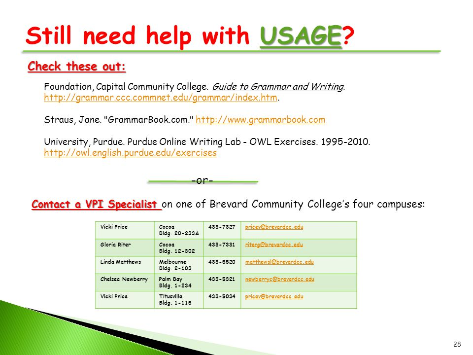 USAGE Still need help with USAGE? Foundation, Capital Community College. Guide to Grammar and Writing. http://grammar.ccc.commnet.edu/grammar/index.ht