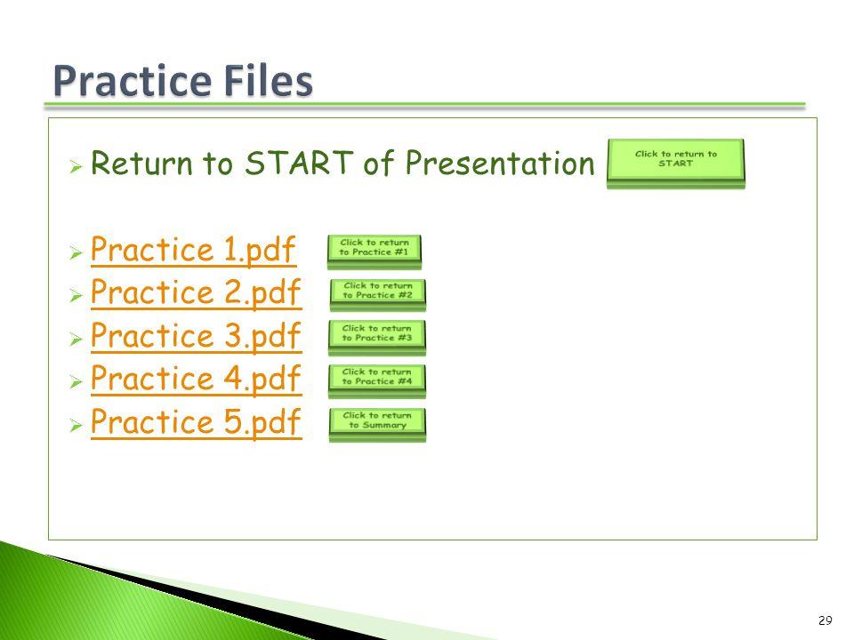  Return to START of Presentation  Practice 1.pdf Practice 1.pdf  Practice 2.pdf Practice 2.pdf  Practice 3.pdf Practice 3.pdf  Practice 4.pdf Pra