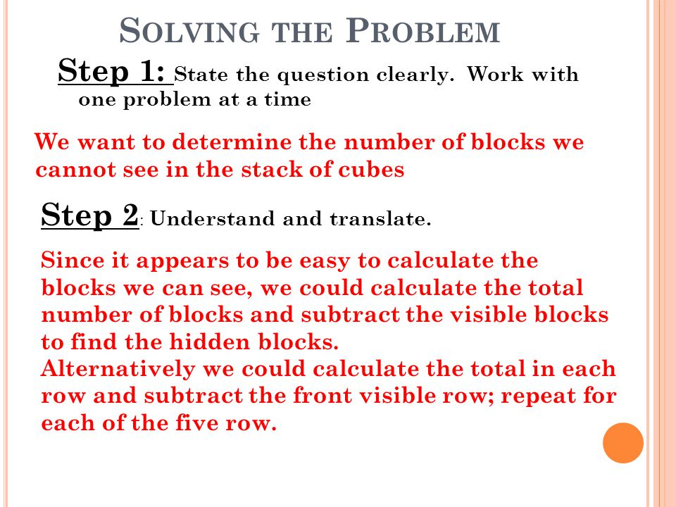 S OLVING THE P ROBLEM Step 1: State the question clearly. Work with one problem at a time We want to determine the number of blocks we cannot see in t