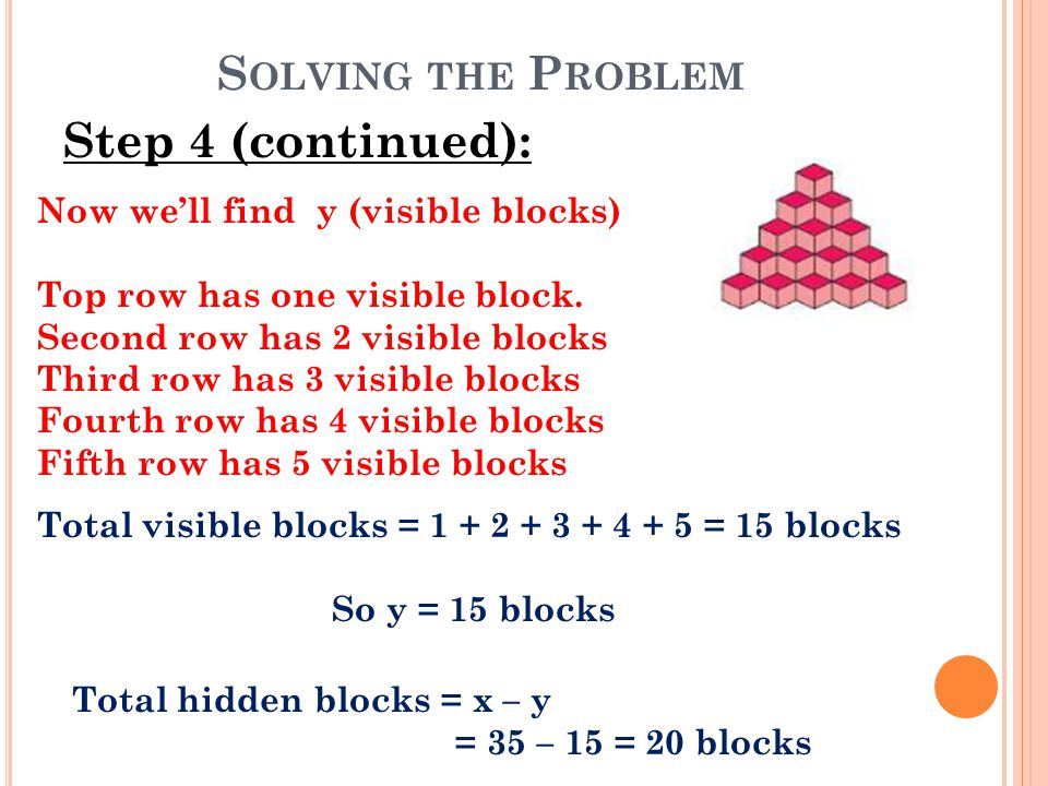 S OLVING THE P ROBLEM Step 4 (continued): Now we'll find y (visible blocks) Top row has one visible block. Second row has 2 visible blocks Third row h