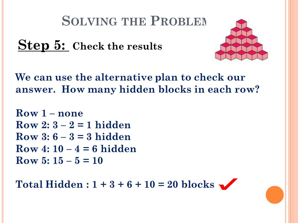 S OLVING THE P ROBLEM Step 5: Check the results We can use the alternative plan to check our answer. How many hidden blocks in each row? Row 1 – none