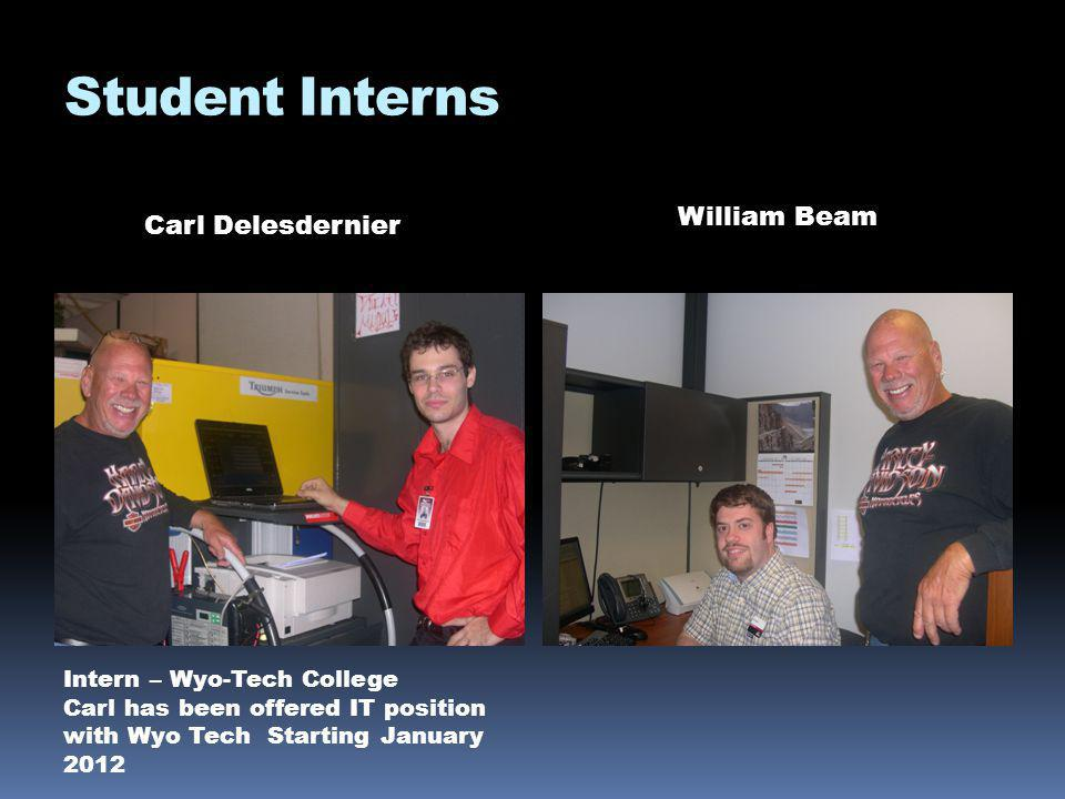 Student Interns Carl Delesdernier William Beam Intern – Wyo-Tech College Carl has been offered IT position with Wyo Tech Starting January 2012