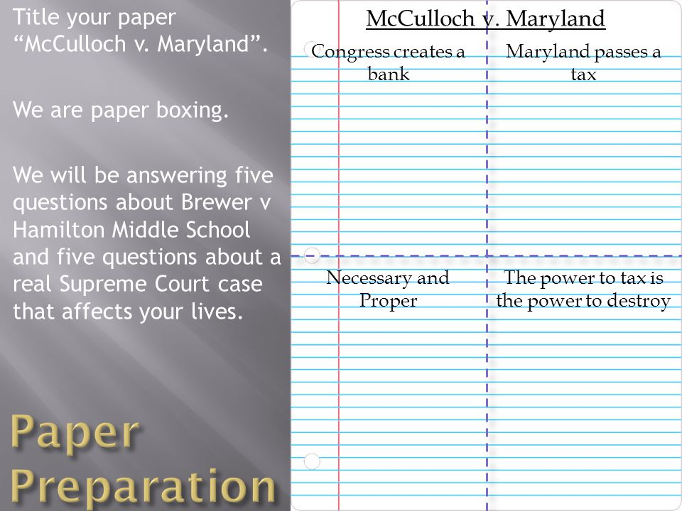 Title your paper McCulloch v. Maryland . We are paper boxing.