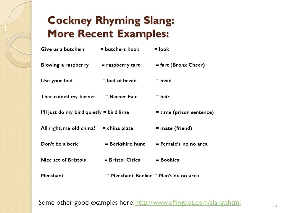 Cockney Rhyming Slang: More Recent Examples: Give us a butchers = butchers hook = look Blowing a raspberry = raspberry tart = fart (Bronx Cheer) Use y